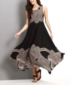 Another great find on #zulily! Black & Taupe Cloud Handkerchief Dress by Reborn Collection #zulilyfinds