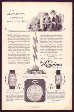 1920s Longines watch ad