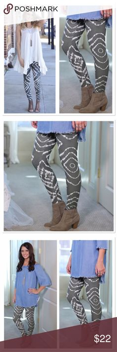 Grey tie dye leggings OS One size fits small - large. Soft brush knit leggings are amazingly comfortable! 92 % polyester, 8 % spandex. Have the look and feel of Lularoe leggings. Not sheer or see through. Get leggings for only $10 when you buy a boutique top! Infinity Raine Pants Leggings