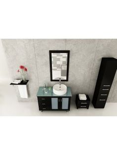"39"" Lune Single Vessel Sink Vanity - Espresso/Glass Top"