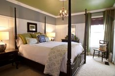 Green Ceiling Paint With Gray Wall For Bedroom  Kaamz