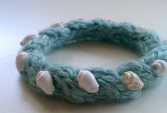the madison bracelet  blue handknit cabled by kateydidhandmade, $10.00