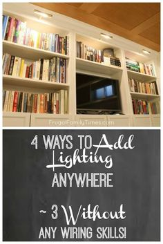 How To Add Library Lights A Built In Bookcase Without An Electrician