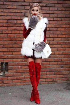 Fur Fashion, Fashion Looks, Fashion Outfits, Womens Fashion, Fashion Rings, Chinchilla, Over The Knee Boot Outfit, Black Thigh High Boots, Fur Clothing