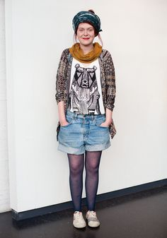 "МАЙКА!    Melinda    ""My outfit is a postmodern stand to the state of the society.  The print on my top is self-designed and self-made.""  14 April 2011, Kiasma Art Museum"