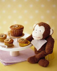 Banana Muffins from Matha Stewart. I only use all perpose flour then add 1 1/2 tsp of baking powder , 1/2 tsp of nutmeg , 2 tsp of cinnamon powder and baked at 375F, Yum!.