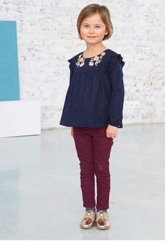 Blouse fille brodée Vertbaudet , mode enfant , mode fille , collection  automne hiver 2017/
