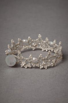 Bridal Jewelry Carolingian Bracelet from BHLDN. Love the look of this bracelet. It's very delicate, almost like lace, and the pearls in the beading are extremely sweet. Bracelet Tatting, Tatting Jewelry, Tatting Lace, Beaded Jewelry, Handmade Jewelry, Beaded Bracelets, Lace Bracelet, Pearl Bracelet, Lace Ring