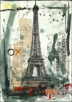 Items similar to ART PRINT canvas gift poster illustration Painting Collage Eiffel Paris Mixed Media drawing Hand Signed autographed Emanunel Ologeanu on Etsy Collage Book, Collage Drawing, Painting Collage, Mixed Media Collage, Heart Collage, Drawing Hand, Tree Collage, Collage Ideas, Paris Kunst