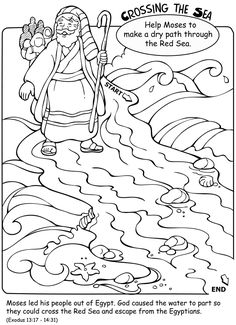 Welcome to Dover Publications Moses Crossing the Red Sea Kindergarten Sunday School, Sunday School Kids, Sunday School Activities, Sunday School Lessons, Sunday School Crafts, Bible Story Crafts, Bible School Crafts, Preschool Bible, Bible Stories