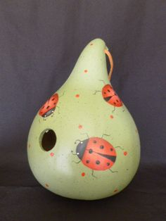 Gourd Birdhouse with Ladybugs by POPLARHOLLOWSTUDIO on Etsy, $49.00