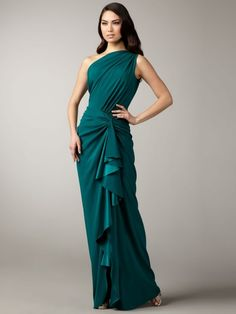 One Shoulder Ruffles Sleeveless Sheath/Column Floor-length Chiffon Dress