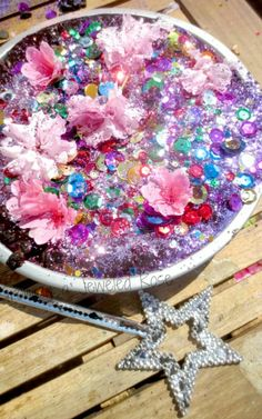 """Growing A Jeweled Rose shows us how to make Princess Mud, with soil, water, glitter, gems, jewels, powder paint & food colouring ("""",)"""