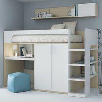 Lit simple / mezzanine / contemporain / en mélaminé