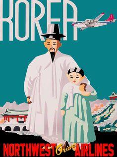 $8.79 - Korea - Northwest Orient Korean Asia Vintage Travel Advertisement Art Poster #ebay #Collectibles