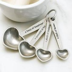 Cooking with Love - Beehive Kitchenware Pewter Measuring Spoons on Ring, Made in USA, Hearts w/ Quotes