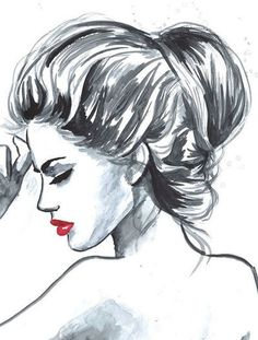 girl, sketch, fashion, lips, drawing