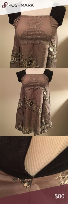 Grey silver square top Twin-Set Simona Barbieri- Beautiful flattering 100% silk top with square neck line with like-black shiny suede sleeves. Some pulled stitching under sleeves. See image. Has front pockets. Seems best for small busted. Twin-Set Tops Blouses