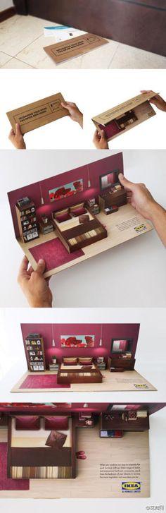 IKEA别出心裁创意卡片:将一处家居设计...