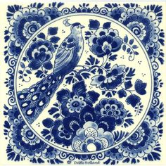 DELFT BLUE TILE BIRD FLOWERS - Tiles - Holland Souvenir Shop