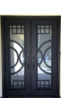 Moderno wrought iron double door installed by universal iron doors installer. Call now to get free estimate. Our office number is Door Installation, Iron Door Design, Grill Door Design, Double Door Design, Iron Doors, Entrance Doors, Door Gate Design, Metal Front Door, Door Glass Design