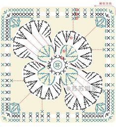 Crocheted motif no. Crochet Mandala Pattern, Granny Square Crochet Pattern, Crochet Flower Patterns, Crochet Diagram, Crochet Chart, Crochet Squares, Crochet Granny, Irish Crochet, Crochet Flowers