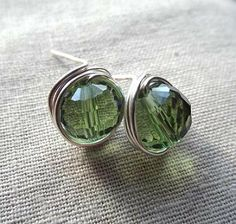 Green glass wire wrapped silver earrings post by PepperandPomme, $11.00
