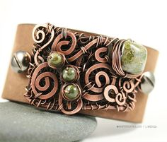 Leather Cuff Bracelet Copper Wire Wrap and Beads by WhimOriginals, $120.00