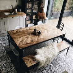 10 Beautiful Rooms - Mad About The House Parquet table and bench - great idea!