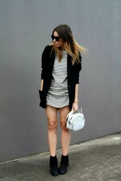Black & White Striped Dress Outfit Inspiration. #repeatoffender #stripes #howtostyle #howtowear #ootd #outfitinspiration #blackandwhite #modernlegacy #blackblazer
