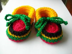 Baby booties Rasta colours Hand crocheted Size by CrochetKat1952