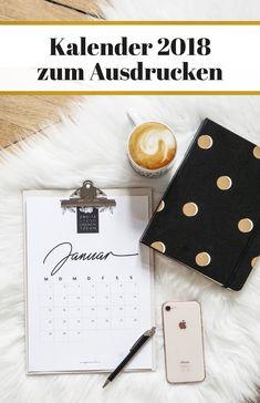 Gratis Kalender 2018 zum Ausdrucken – free printable calendar 2018 #Kalender2018 #printable #ausdrucken #diy