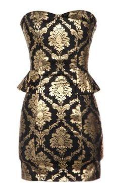 Gilded Leaflet Dress | Black Gold Foiled Peplum Dresses | Rickety Rack