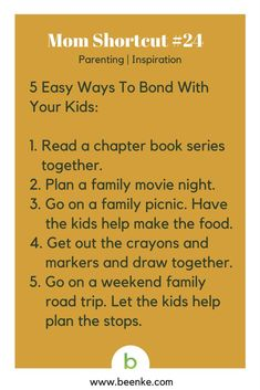 Parenting and Inspiration Shortcuts: 5 easy ways to bond with your child.  Visit Beenke now for MORE awesome mom hacks. Get your daily source of life hacks and parenting tips!.#beenke #MomShortcuts