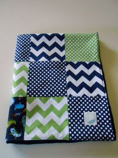 Minky Baby Boy Patchwork Quilt Blanket Riley Blake Chevrons Dots Navy Green Monsters -Made to Order on Etsy, 59,00 $