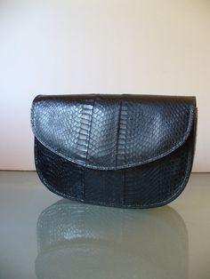 Vintage Black Snakeskin Shoulder Bag by TheOldBagOnline on Etsy