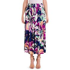 Emilio Pucci Aruba Jersey Midi Skirt ($995) ❤ liked on Polyvore featuring skirts, pleated skirt, long pleated skirt, floral print long skirt, pleated midi skirts and floral print midi skirt