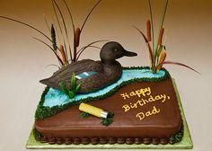 Hunting Birthday Cakes for Men   ... CAKES   BIRTHDAY 075 -- DUCK HUNTER'S BIRTHDAY CAKE FOR DAD