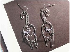 The Cat Earrings are made with silver enameled copper wire, with 10 crystal beads in 3mm. Approximate size: 65mm L. Youre a cat lovers? Here shows all of the cat items:  http://www.etsy.com/shop/Boogiecat/search?search_query=cat&search_submit=&search_type=user_shop_ttt_id_6514850&shopname=Boogiecat      -----------------------------------------  ★ Thanks for visiting my shop! ★