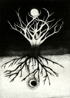 world tree aquatint by Michael Hamilton