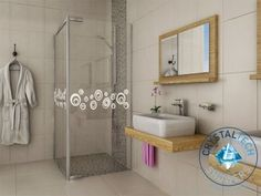 Crystal Tech - Semi Frameless Shower Enclosure With Circles - Frameless Shower Enclosures, Tile Panels, Outdoor Tiles, Mirror Cabinets, Decorative Tile, Wall Tiles, Minimalist Design, Tile Floor, Bathtub