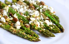 Roasted Asparagus Recipe with Feta and Pistachios