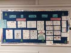 """Math is """"SNOW"""" much fun bulletin board! Students showed data in frequency tables, dot plots, and stem and lead plots using a snowman. They also represented input-output tables using christmas/winter themed drawings!"""