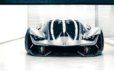 Lamborghini Terzo Millennio, Concept, 2017, hypercar, front view, garage, supercar, Lamborghini