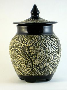 Randi Kish elaborate lines jar black white pottery ceramics clay
