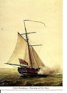 Post card from a painting by Francis Holman of USS Providence Sloop-of-War: Old Sailing Ships, Us Sailing, Sloop Of War, Ship In Bottle, Newport Rhode Island, Man Of War, Ghost Ship, Naval History, Wooden Ship