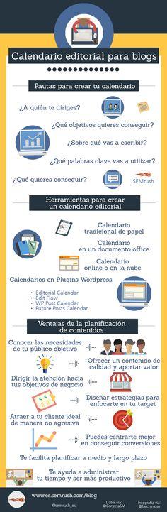 Calendario editorial para Blogs #infografia #infographic #socialmedia   TICs y Formación