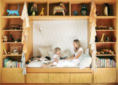 James enjoys story time in her built-in daybed. Photo: Douglas Friedman