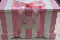 Pink Stripe Cupcake Keepsake Chest Memory Box by staciedale, $255.00