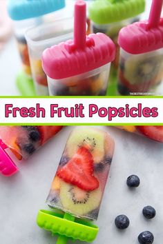 - such a fun way to make homemade popsicles! An easy homemade fresh fruit popsicle recipe. Home Made Popsicles Healthy, Healthy Popsicle Recipes, Ice Pop Recipes, Baby Food Recipes, Fruit Recipes For Kids, Healthy Fruit Desserts, Protein Fruit, Kids Fruit, Fun Fruit